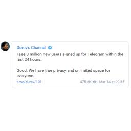 Dok su trajali problemi sa WhatsAppom i Messengerom, Telegram dobio 3 miliona novih korisnika